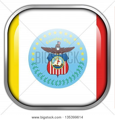 Flag Of Columbus, Ohio, Square Glossy Button