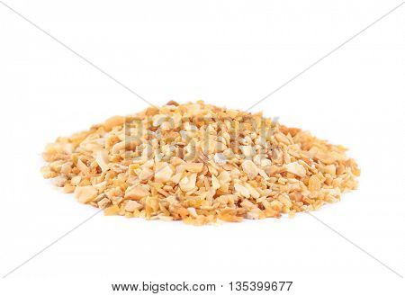 Dried chopped garlic isolated on white