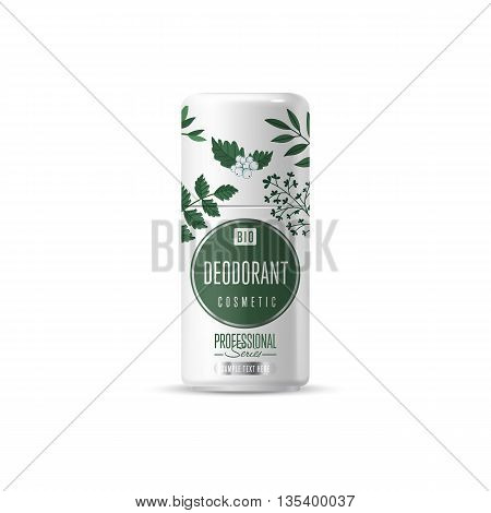 Organic cosmetic brand of deodorant vector packaging template, body care product. Realistic bottle mock up isolated on white background.