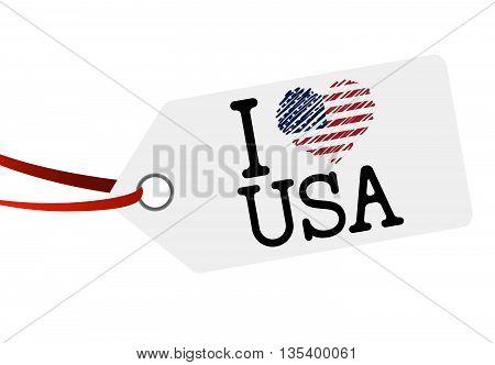 Hang Tag With Text I Love Usa