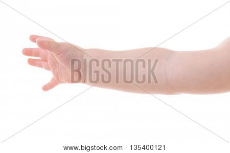 Baby's hand gesturing, isolated on white