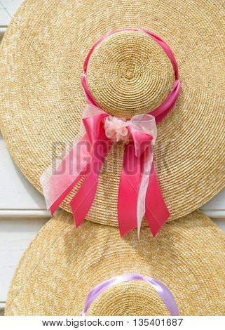 Traditional straw hats with ribbons