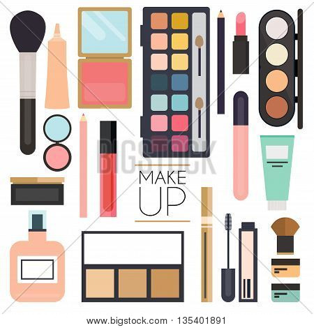 Makeup cosmetics and brushes on white background.Lipstick brushes eyeshadow heart.Unusual creative makeup set. Beauty flat lay concept in colors.