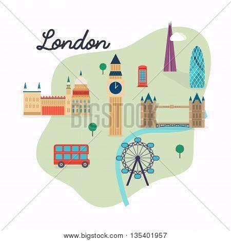 London. Travel Map And Vector Landscape Of Buildings And Famous Landmarks. Big Ben, Bridge, Double D