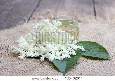 Glass jar of natural bee honey and elder flowers