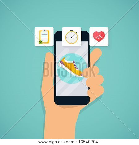 Hand holding mobile smart phone app with track displayed with route. Vector fitness route tracking concept illustration. Flat design modern vector illustration concept.