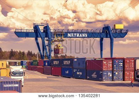 CZECH REPUBLIC, NYRANY,  27 APRIL,  2015: Nyrany container terminal. Industrial crane loading containers.