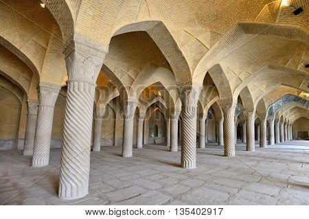 SHIRAZ - APRIL 14: Interior of Vakil Mosque in Shiraz, southern Iran on April 14, 2015. This mosque was built between 1751 and 1773, during the Zand period in Shiraz, Iran.