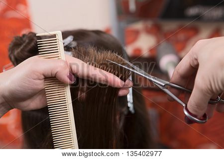 Getting rid of those split ends. Cropped shot of female hairdresser cutting client's hair with scissors at beauty salon.