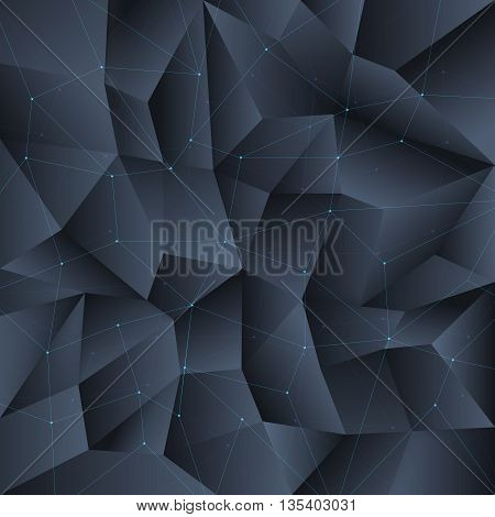 Polygon black crystal background with connecting lines structure. Background pattern polygon, crystal geometric polygon, form polygon structure. Vector illustration
