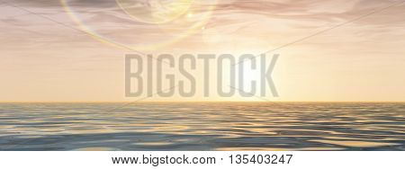 3D illustration concept or conceptual sunset or sunrise background with the sun close to horizon and sea or ocean banner