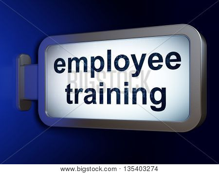 Studying concept: Employee Training on advertising billboard background, 3D rendering