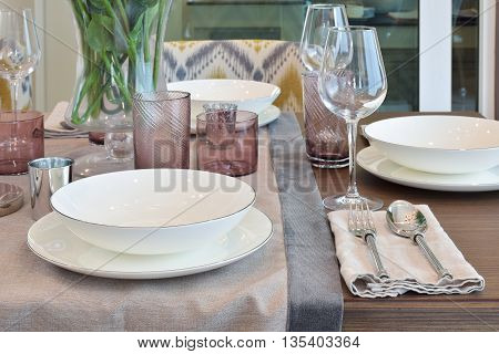 Elegance dining room with dining set on wooden table