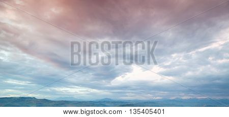 Cloudy Sky, Panoramic Background Photo