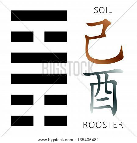 I Ching Hexogram Sun+snake-gold+rooster
