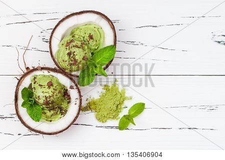 Green tea matcha mint ice cream with chocolate and coconut milk