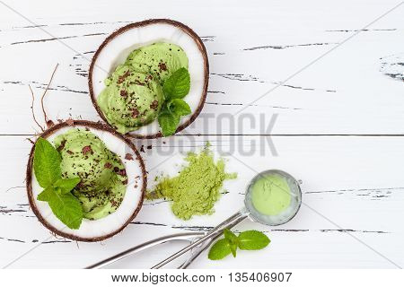 Green tea matcha mint ice cream with chocolate and coconut milk