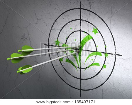 Success holiday concept: arrows hitting the center of Green Fireworks target on wall background, 3D rendering