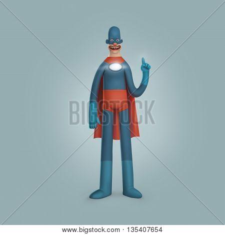 Male Superhero Wearing Blue Red Suite Illustration