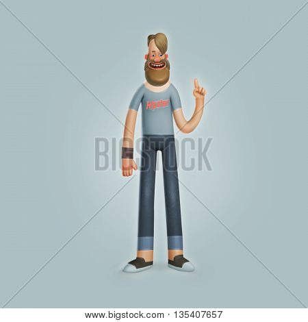 Cool Hipster Character with Beard Adult Man Wearing Jeans Urban Citizen Smiling