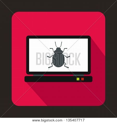 Laptop icon with a bug icon in flat style on a pink background