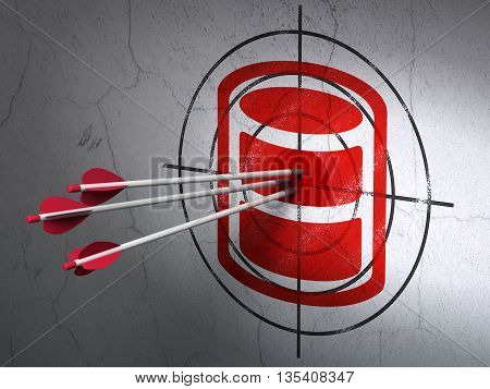 Success Software concept: arrows hitting the center of Red Database target on wall background, 3D rendering