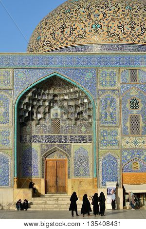 ISFAHAN - APRIL 19: exterior of the Sheikh Lotfollah Mosque in Isfahan Iran on April 19 2015. Construction of the mosque started in 1603 and was finished in 1619.
