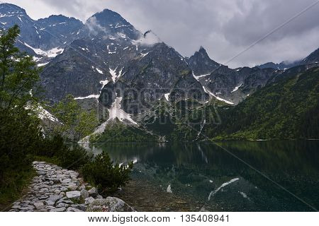 Glacial lakes and rocky peaks in the Tatra Mountains in Poland