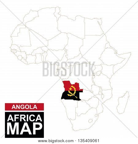 Africa Contoured Map With Highlighted Angola.