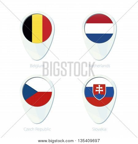 Belgium, Netherlands, Czech Republic, Slovakia Flag Location Map Pin Icon.
