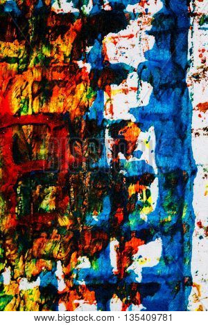 Closeup view of abstract hand painted lined colorful acrylic art background on paper texture. Fragment of artwork