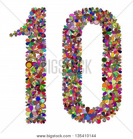 Vector number ten made of colorful flowers.