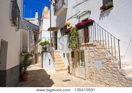 Perspective of an alleyway of Turi. Puglia. Italy.