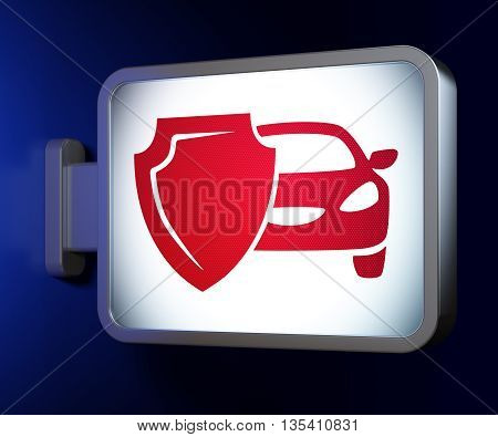 Insurance concept: Car And Shield on advertising billboard background, 3D rendering