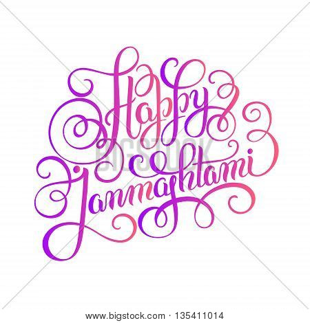 happy krishna janmashtami hand lettering inscription typography poster for indian traditional festival, vector illustration eps 10