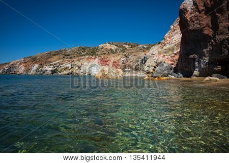 Beautiful and rare natural colors of Palepchori beach Milos Greece