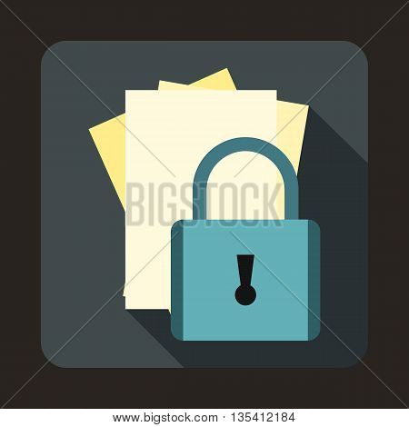 Folders with padlock icon in flat style on a gray background
