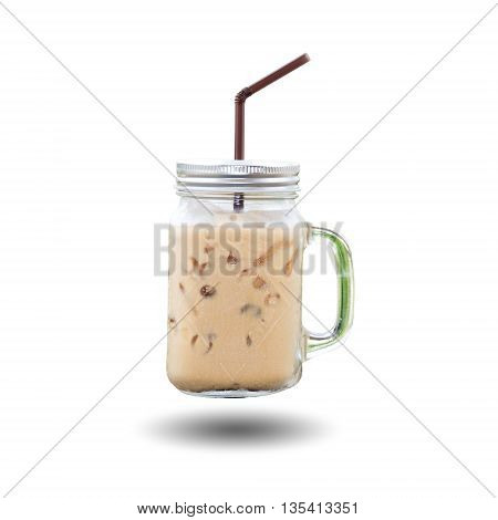 Ice coffee cup with handle and drinking straw isolated on white background.