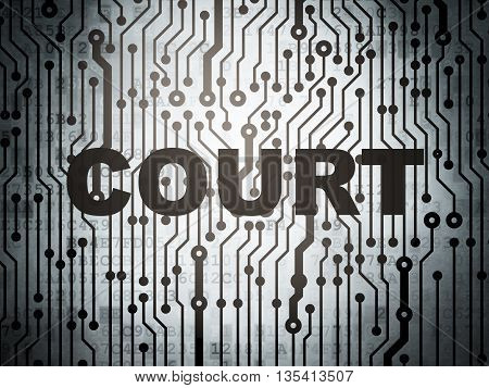 Law concept: circuit board with  word Court, 3D rendering