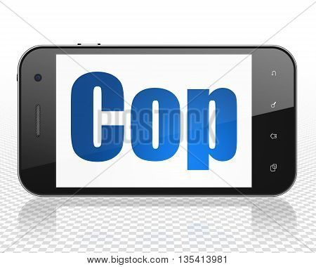 Law concept: Smartphone with blue text Cop on display, 3D rendering