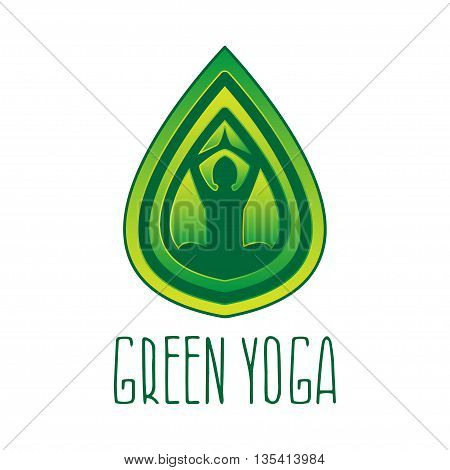 Concept logo for theme woman in pose lotus in leaf. Vector illustration