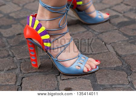 MILAN ITALY - JUNE 19: Detail of shoes outside Missoni fashion show building during Milan Men's Fashion Week on JUNE 19 2016 in Milan.