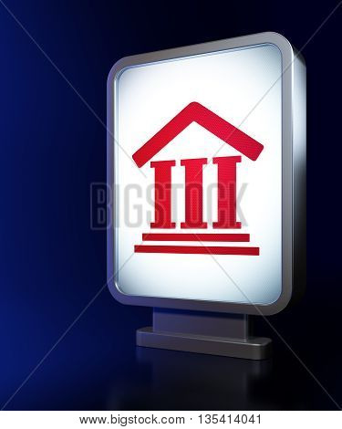 Law concept: Courthouse on advertising billboard background, 3D rendering