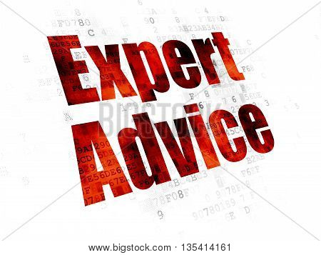 Law concept: Pixelated red text Expert Advice on Digital background