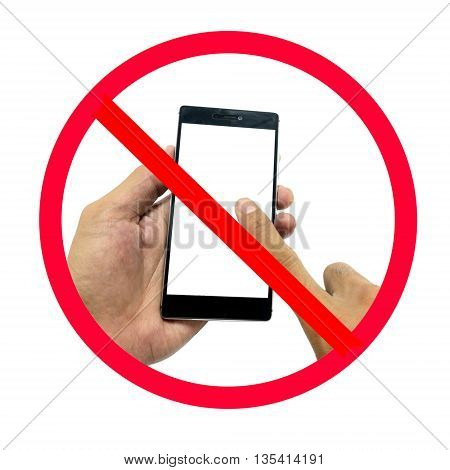 Hand holding smart phone with do not use smart phone sign isolated on white background.