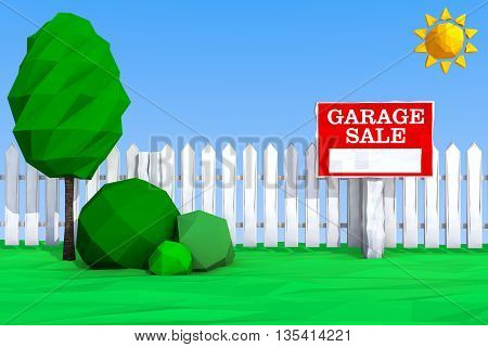 Garage Sale Board on grass Field in Low Polygons Style extreme closeup. 3d Rendering