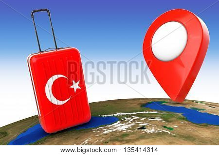 Travel to Turkey concep. Suitcase with Turkey flag and Pointer over Earth Globe. 3d Rendering