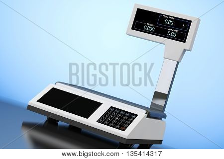 Old Style Photo. Electronic Scales for weighing Food on a blue background. 3d Rendering