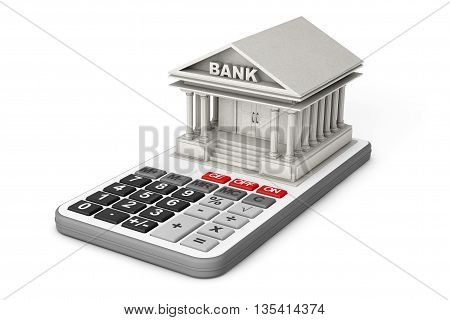 Concrete Bank Building over Calculator on a white background. 3d Rendering