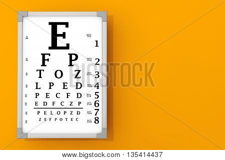 Snellen Eye Chart Test Box in front of orange wall. 3d Rendering